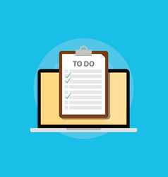 Online todo list with clipboard and laptop and vector