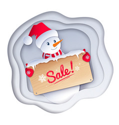 paper cut style of cute snowman vector image
