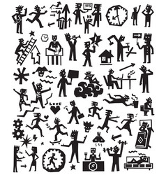 People lifestyle doodles set vector