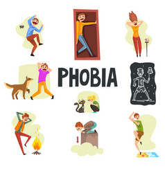 People suffering from various phobias set vector