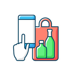 Phone drinks ordering rgb color icon vector