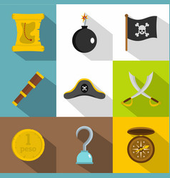 Pirates attributes icon set flat style vector