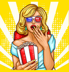pop art excited blond woman sitting in the vector image