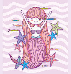 Pretty mermaid woman with starfishes and fishes vector
