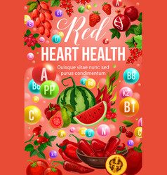 Red diet food and heart health nutrition vitamins vector