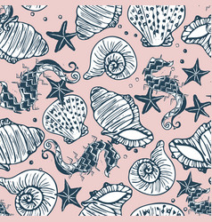Retro navy and pink seahorse starfish and vector