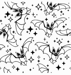 seamless pattern bats and stars vector image