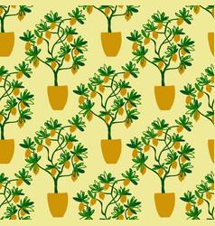 Seamless pattern with lemon tree pot vector