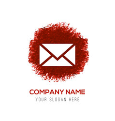 send mail icon - red watercolor circle splash vector image