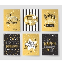 Set beautiful birthday invitation cards vector