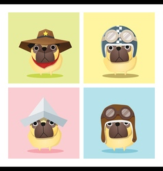 set dog in cute costumes vector image