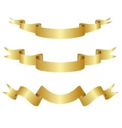 set golden ribbons vector image