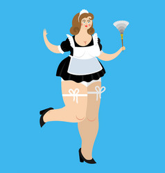 sexy maid sensual cleaning woman girl in black vector image