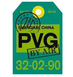 Shanghai airport luggage tag vector