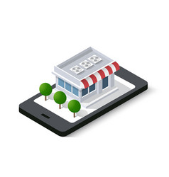 Shop online isometric city mobile phone vector