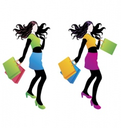 shopping fashion girl vector image vector image