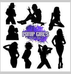 Silhouettes - pretty pin up girl on white vector