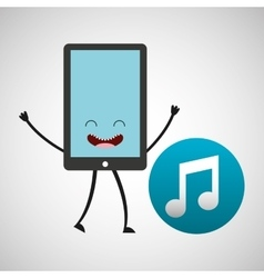 Smartphone cartoon with music note sound vector