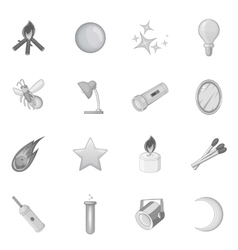 Sources of light icons set monochrome style vector