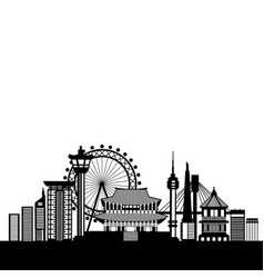South korea skyline silhouette poster with famous vector