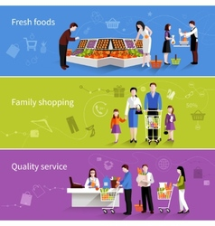 Supermarket People Banners vector