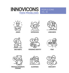 teen problems line design style icons set vector image