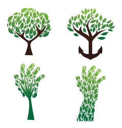 tree green set vector image