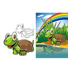 Turtle on river vector