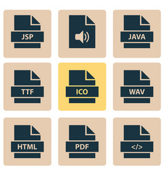 Types icons set collection of paper programming vector