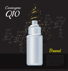 Unbranding poster with coenzyme q10 bottle vector