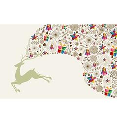 Vintage Christmas reindeer jumping vector image