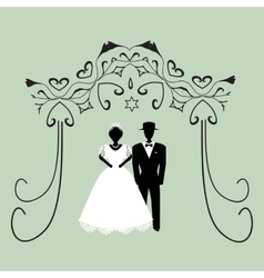 Vintage graphic Chuppah Religious Jewish wedding vector image