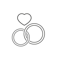 Wedding ring icons two for celebration married vector