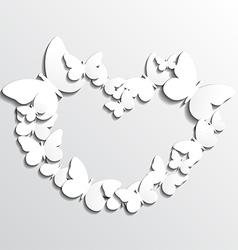 White Heart Butterflies vector image