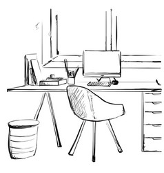 workspace office desk computer chair potted plant vector image