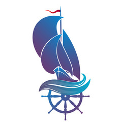 yacht with sails and steering wheel vector image