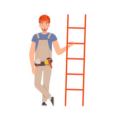 young man with a beard holds a ladder vector image