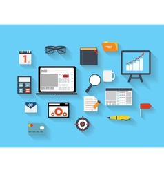 Business and Office Flat Icons Ilustration vector image