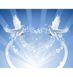 doves with roses wreath vector image