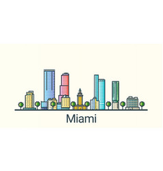 flat line miami banner vector image