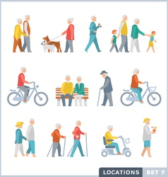 Older people on the street vector