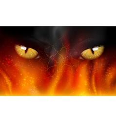 cats eyes on fire vector image
