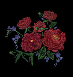 embroidered composition with peonies wild and vector image