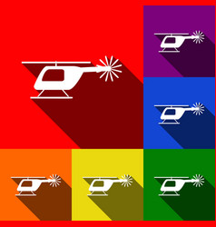 helicopter sign set of icons vector image