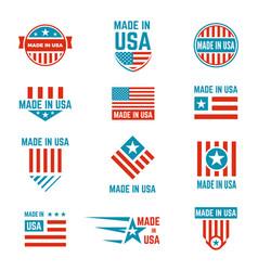made in usa flag emblem set vector image vector image