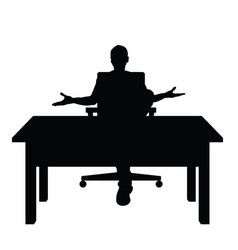 man silhouette sitting on chair with desk vector image
