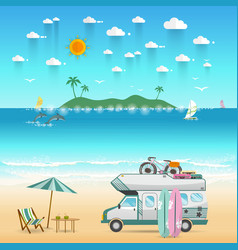 summer beach camping island landscape with vector image