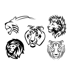 Wild lions tigers and panthers vector image vector image