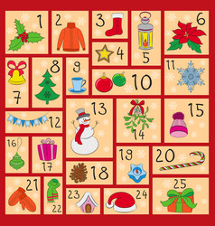 advent calendar cute christmas winter and new vector image