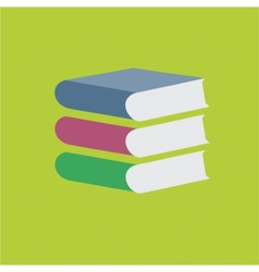 Colored books stack on green background vector image